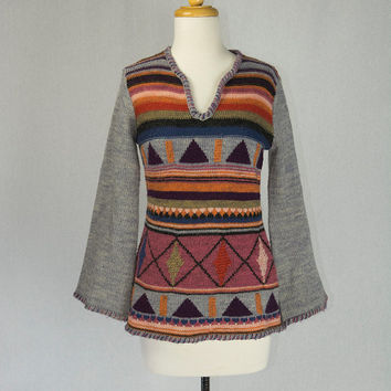 Vintage 70s Boho Hippie Sweater Bell Sleeves Organically Grown by Arpeja