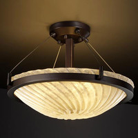 Justice Design Group GLA-9681-35-WHTW-DBRZ-LED-3000 Veneto Luce 18-Inch Round 3000 Lumen LED Semi-Flush Mount with Ring