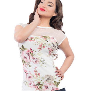 Steady Clothing Vera Blush Scallop Lace top shirt pinup