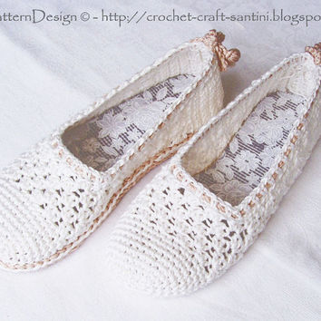 Crochet Baby Elf Slippers Pattern Free : White Lace Espadrilles Toms Crochet from PdfPatternDesign ...