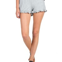 Solid Ruffle Bottom Lounge Shorts - Light Gray