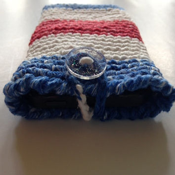 Cozy Case  Iphone 5 4 4S Galaxy 3S 4S Kindle smartphone/tablet/e-reader crochet  American  Flag - 4th of July - 100% Cotton
