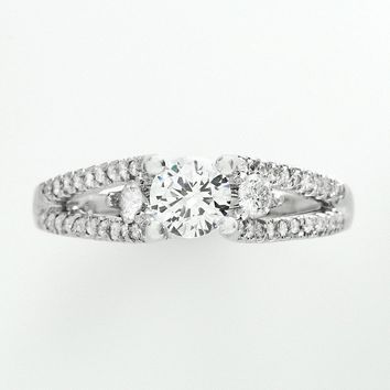 Cherish Always Round-Cut Diamond Engagement Ring in 14k White Gold (1 ct. T.W.)