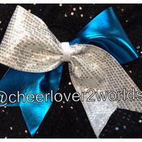 Cheer Bow - Turquoise Metallic/Silver Sequin Shiny Cheerleading Dance Ribbon
