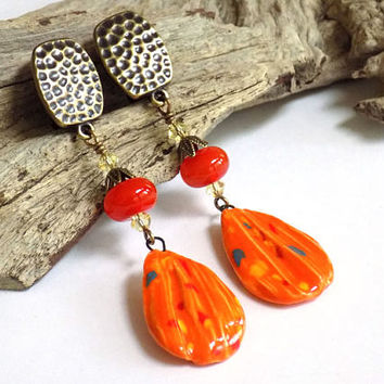 Long Dangle Earrings, Orange Earrings, Clip on Earrings for Women, Handcrafted Jewelry, One of a Kind Jewelry, Glass Earrings, Gift for Her