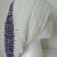 Crocheted Antique White & Purple Striped Slouchy Hat