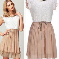 'The Lena' Beige Lace Pleated Sleeveless   Dress