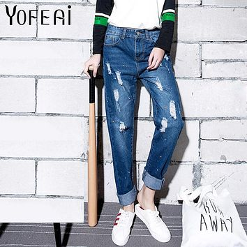 YOFEAI 2017 Plus Size Boyfriend Pants Women Fashion Painted Denim Pants Ripped Jeans for Woman Casual Harem Pants Female