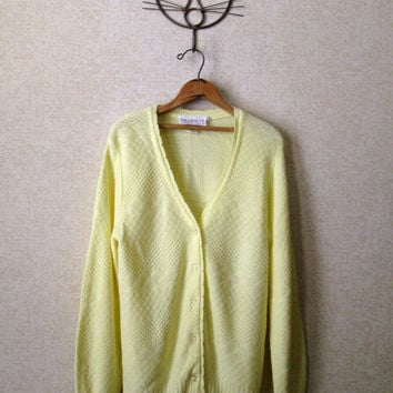 Yellow Cardigan Vintage 60s 70s button front cardi Mad Men era retro preppy hipster lacy acrylic sweater lemon canary womens small Talbott