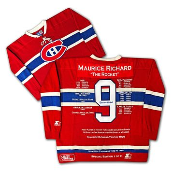 MAURICE RICHARD SPECIAL EDITION WOOL CAREER JERSEY 1 OF 9 AUTOGRAPHED