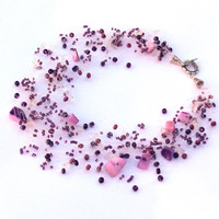 Purple Necklace. Multistrand Necklace. Beadwork. Beaded Jewelry