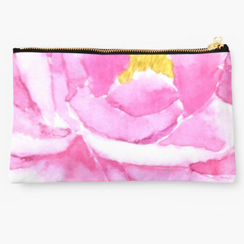 'pink peony macro watercolor ' Studio Pouch by ColorandColor