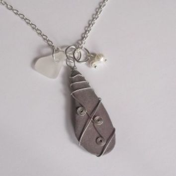 Wire Wrapped Welsh Beach slate necklace