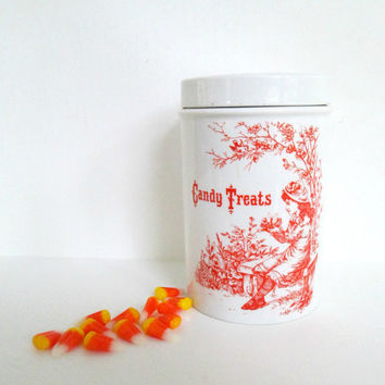 Staffordshire Halloween Candy Canister Treats Jar /  Vintage Royal Crownford Ironstone