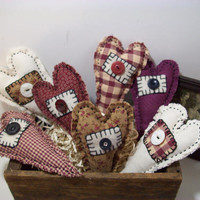 Primitive Fabric Hearts, Handmade, Valentines Day, Mothers Day, Country Decor, Cottage Decor, Farmhouse, Home and Living, Home Decor, Unique