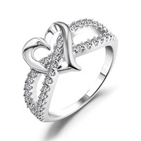 Heart Promise Ring, Caperci 925 Sterling Silver CZ Diamond Accent Heart Engagement Wedding Ring Size 5
