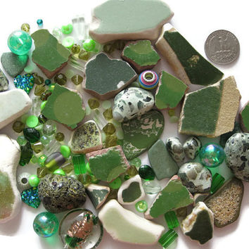 Mixed Green Beads Beach Pottery Tile Embellishments Over 120 Pcs Arts Crafts Mosaics Jewelry Making Upcycle Surf Tumbled Glass Acrylic
