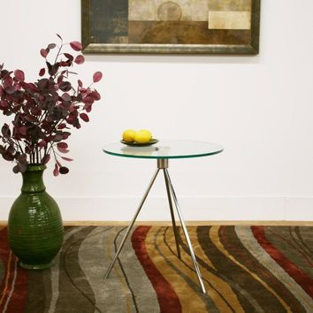 Triplet Round Glass Top End Table with Tripod Base By Baxton Studio