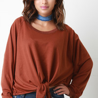 Knotted Raw Cut Fleece Pullover Sweater