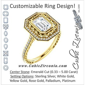 Cubic Zirconia Engagement Ring- The Sydney Ava (Customizable Cathedral-Bezel Emerald Cut Filigreed Design with Halo & Pavé Accents)