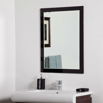 Modern Bathroom Wall Mirror with Black Glass Border - Hangs Vertical Or Horizontal