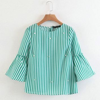 women elegant pearls beading striped shirt flare sleeve O neck blouse ladies summer brand casual tops blusas