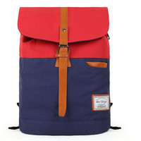 Fashion Pure Color School Canvas Mosaic Casual Backpack