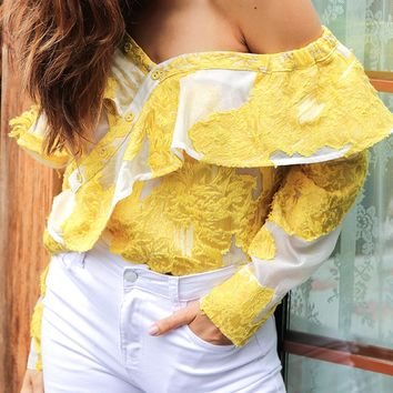Yellow One Shoulder Ruffle Trim Blouse