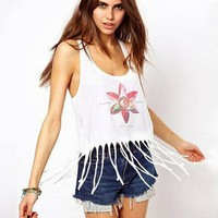 Womens Tassel Tank Top