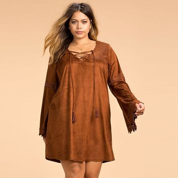 Bohemian Solid Dress Long Sleeve Lace Big Size Dress 3XL- 6XL