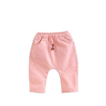 3-7 Year Toddler Kids pants for Boy Girl Trousers Baby Children 2017 Summer Trousers Harem Pants Solid linen Calf-length pants