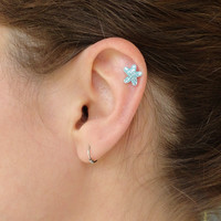 Tiny Aqua Blue Crystal Starfish 316L Surgical Steel Cartliage Earring Tragus Helix Piercing
