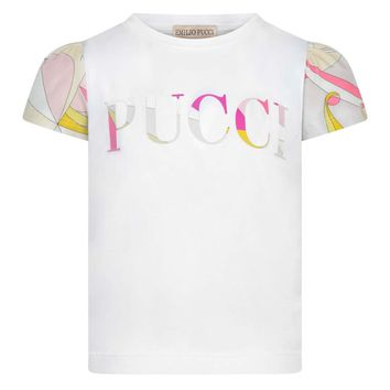 Girls White Logo T-shirt with Colorful Sleeves
