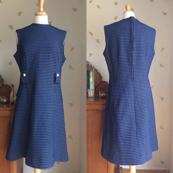 1960's Blue + White Shift Dress ~ Mod ~ Textured Knit ~ Faceted Buttons ~ 36 Waist ~ Vintage 60s
