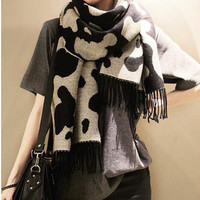 Cow Skin Pattern Fringed Long Scarf