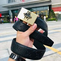 GUCCI 2018 new classic double G logo embossed plate buckle leather belt