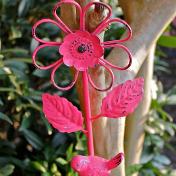 Cast Iron Wall Hook/ Bright Pink/ Flower Bird/ by AquaXpressions