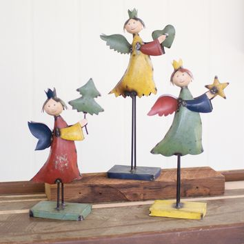 Set Of 3 Recycled Metal Angels - Holding Heart Tree Star