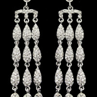 Waterfall Crystal Dangle Earrings in Silver – bandbcouture.com