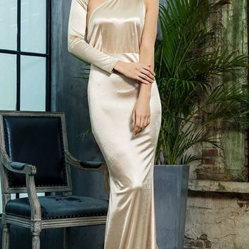 Hollywood Mystery Gold Satin One Shoulder One Long Sleeve Backless Mermaid Maxi Dress