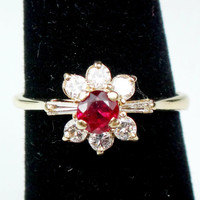 Vintage 14k Ruby Diamond Ring Genuine Ruby Ring Alternative Engagement Ring 14k Gold Ruby Diamond Ring July Birthstone Ballerina Cluster