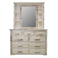 Montana Woodworks Deluxe Dresser Mirror in Clear Lacquer