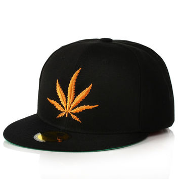 Snapback Caps Hats Baseball Cap Men Women black leaf