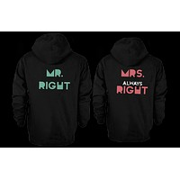 Mr. Right & Mrs. Always Right Matching Couple Hoodies (Set / Front & Back)