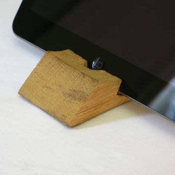 iPad Stand, crafted from a recycled wine barrel stave.