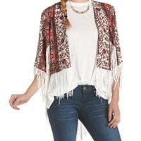 Ivory Combo High-Low Printed Fringe Kimono by Charlotte Russe