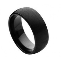 Brushed Black Enamel Plated Domed Band Tungsten Carbide Ring