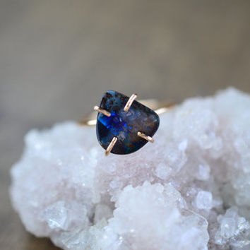 Cobalt Blue Australian Opal Ring. Raw Opal Slice on Gold Filled. Birthstone Ring. Delicate Blue Flash Stone Ring. Natural Opal Jewelry
