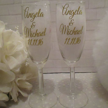 Disney Inspired Beauty and the Beast  ~ Tale As Old As Time ~ Unique Princess Champagne Glasses ~ Gift for Her ~ Wedding Toasting Glasses