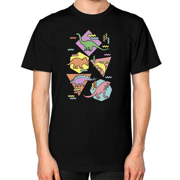 Nineties Dinosaur Pattern Unisex T-Shirt (on man)